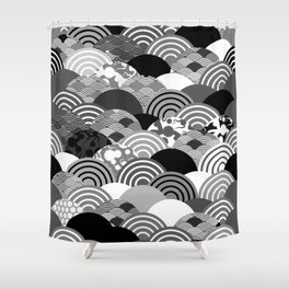 Nature background with japanese sakura flower, Cherry, wave circle Black gray white colors Shower Curtain