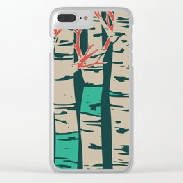 Whimsical birch forest landscape wall art Clear iPhone Case