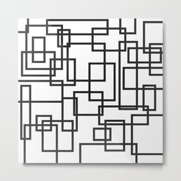 Black and White Cubical Line Art Metal Print