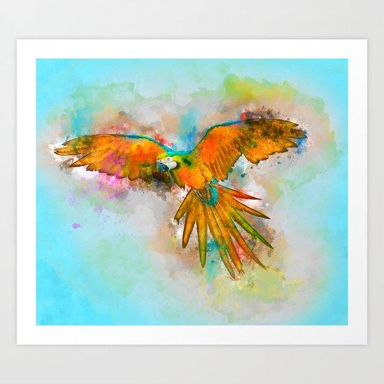 High as a Macaw Art Print