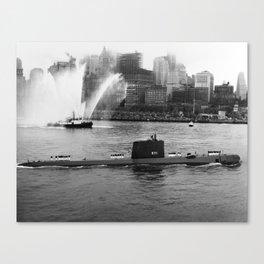 USS Nautilus anchored in New York Harbor - 1958 Canvas Print