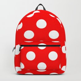 Red - White Polka Dots - Pois Pattern Backpack