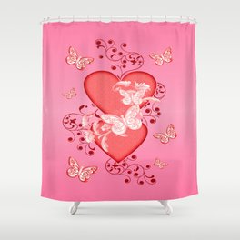 Butterflies and Hearts Shower Curtain