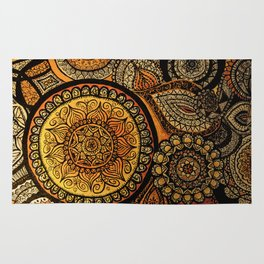 Sunburst Mandala Collage Rug