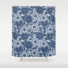 japanese blue flower pattern Shower Curtain