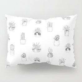 Potted Cactus Pattern Black and White Pillow Sham
