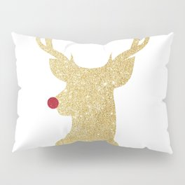 Rudolph The Red-Nosed Reindeer | Gold Glitter Pillow Sham