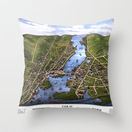 MYSTIC RIVER CONNECTICUT city old map Father Day art print Throw Pillow