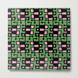 Mid Century Modern Abstract 212 Green and Pink Metal Print