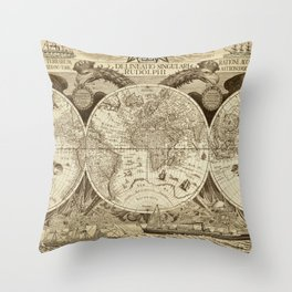 Antique world map with sail ships, sepia Throw Pillow