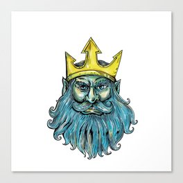 Neptune Trident Crown Head  Woodcut Canvas Print