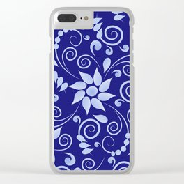 Blue floral print in Russian folk style Clear iPhone Case