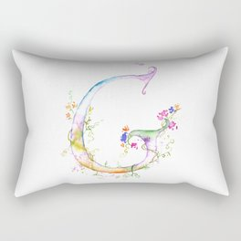 Letter G watercolor - Watercolor Monogram - Watercolor typography - Floral lettering Rectangular Pillow