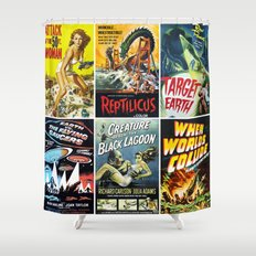 Vintage Sci-Fi Movie Poster Collage Shower Curtain