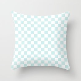 Small Checkered - White and Light Cyan Throw Pillow