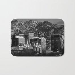 Salt Lake City Downtown Winter Skyline - Black And White Bath Mat