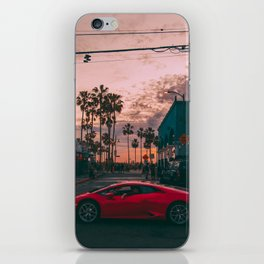 Super Car at Venice Beach During Sunset Palm Trees iPhone Skin