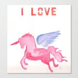 I Love The Unicon Canvas Print