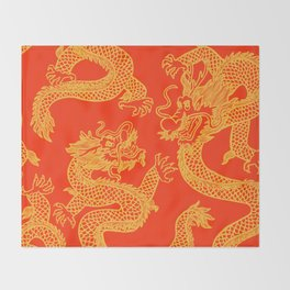 Red and Gold Battling Dragons Throw Blanket