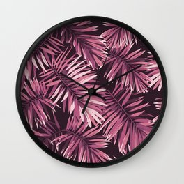Rose palm leaves Wall Clock