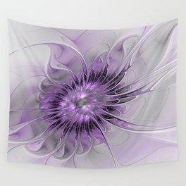 Lilac Fantasy Flower, Fractal Art Wall Tapestry