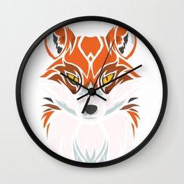 Tribal Fox - Wild Animal Art - Exotic Animals Wall Clock