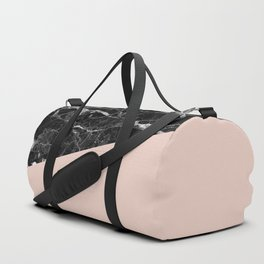 Black Marble and Pale Dogwood Color Duffle Bag
