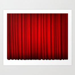 red silk curtains Art Print