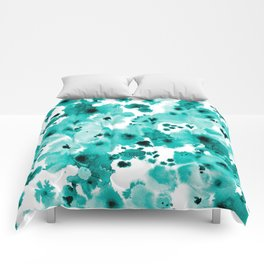 Marina - abstract free brushstroke ink spots painting watercolor art dorm hipster college beach Comforters