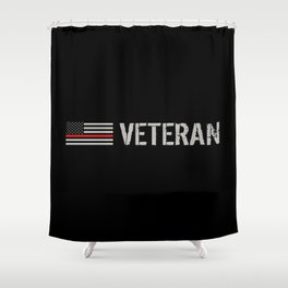 Firefighter Veteran: The Thin Red Line Shower Curtain