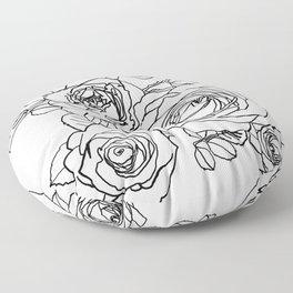 Feminine and Romantic Rose Pattern Line Work Illustration Floor Pillow