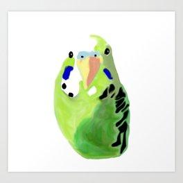 Green Budgie Parakeet bird Art Print