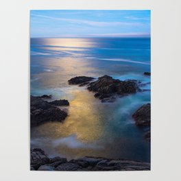 On the Rocks - Moonlight Reflects Off Pacific Ocean in California Poster