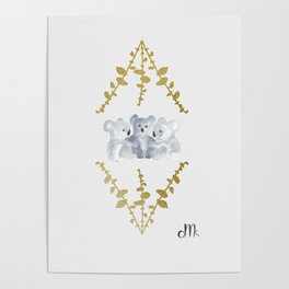 Koalas in Gold Poster