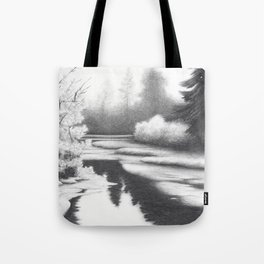 Graphite drawing landscape with river and trees Tote Bag