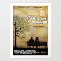 500 days of summer Art Prints featuring 500 Days of Summer by Josh Goldman