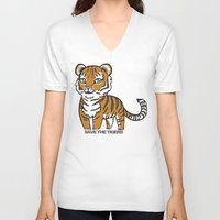 tigers V-neck T-shirts featuring TIGERs by hoshi-kou