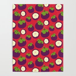 Tropical mangosteen fruit pattern on the coral background Poster