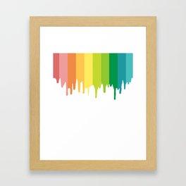 rainbow color drip Framed Art Print