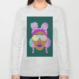 Top Puffs Girl #naturalhair #rainbowhair #shades #lipstick #blackunicorn #curlygirl Long Sleeve T-shirt