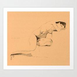 'Slumber' Sleeping Nude Woman Figure Drawing Art Print