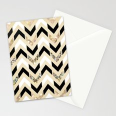 Black, White & Gold Glitter Herringbone Chevron on Nude Cream Stationery Cards