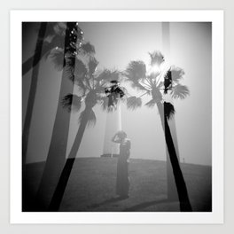 Lighthouse & Palm Trees Double Exposure Art Print