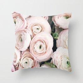 Flowers, Pastel, Plant, Pink, Minimal, Flowers decor, Interior, Wall art Art Throw Pillow