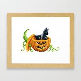 halloween cats, pumpkin, jack-o-lantern Framed Art Print