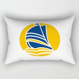 Minimal Sunset Sailboat Rectangular Pillow