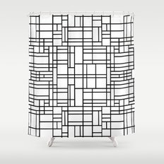 Map Outline Black on White  Shower Curtain