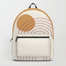Geometric Lines in Terracotta Gold Beige 3 (Rainbow and Sun Abstract) Backpack