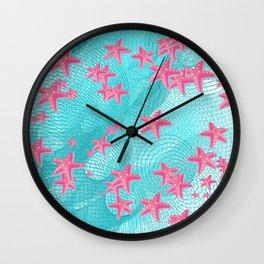 Pink starfish Wall Clock