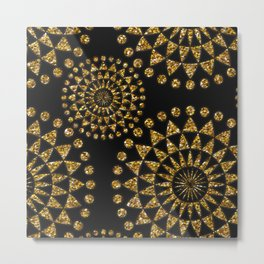 Gold glamour faux glitter ornament shimmering black Metal Print